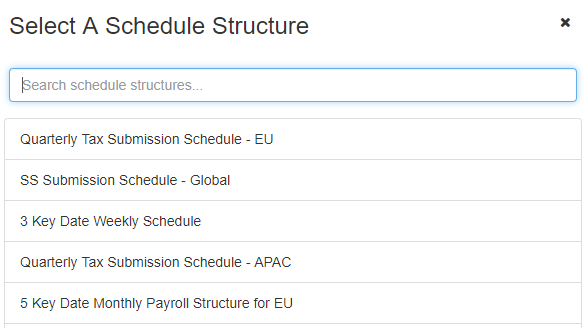 start a schedule structure